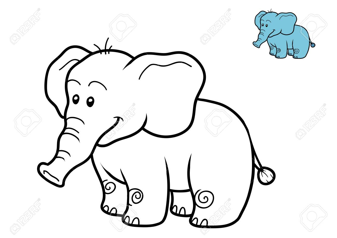 Coloring Book For Children Elephant Stock Photo