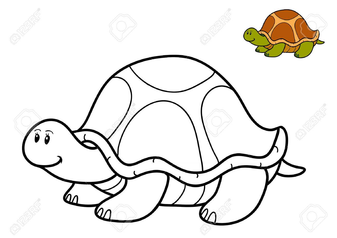 Coloring Book For Children, Turtle Stock Photo, Picture And Royalty ...