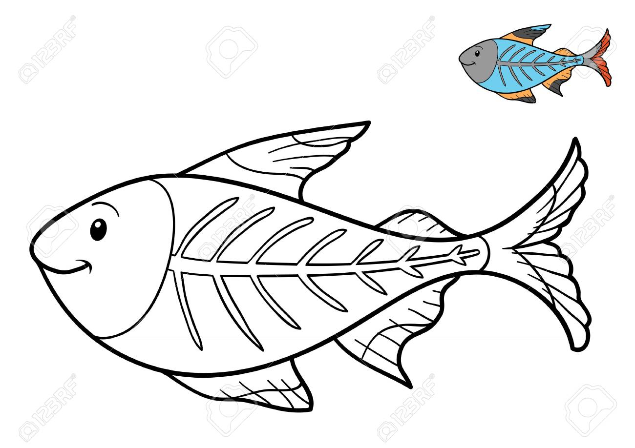Coloring Book For Children X Ray Fish Stock Photo