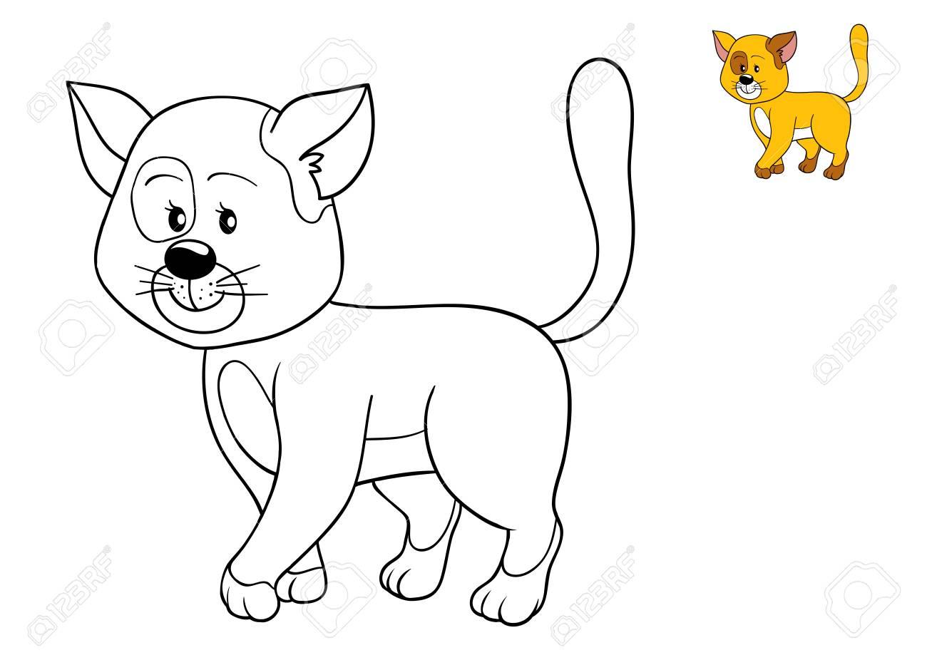 Fantástico Lindo Gato Para Colorear Páginas Para Niños Imagen ...
