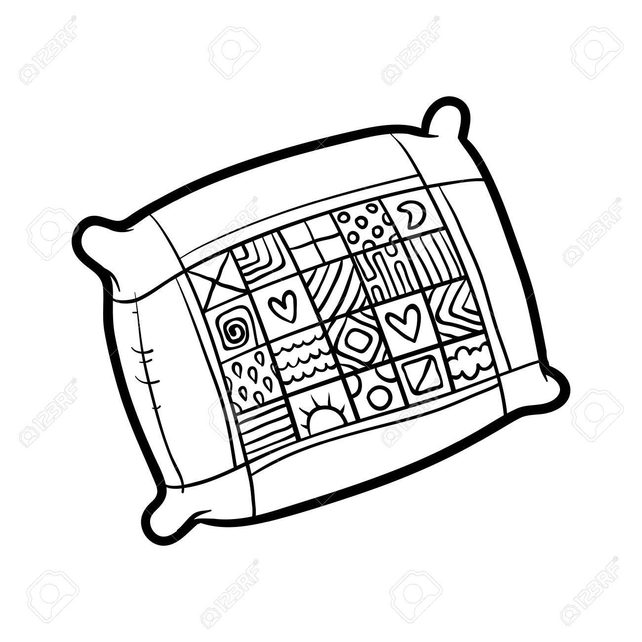 Coloring Book For Children, Pillow Royalty Free Cliparts, Vectors ... for Pillow Clipart Black And White  570bof
