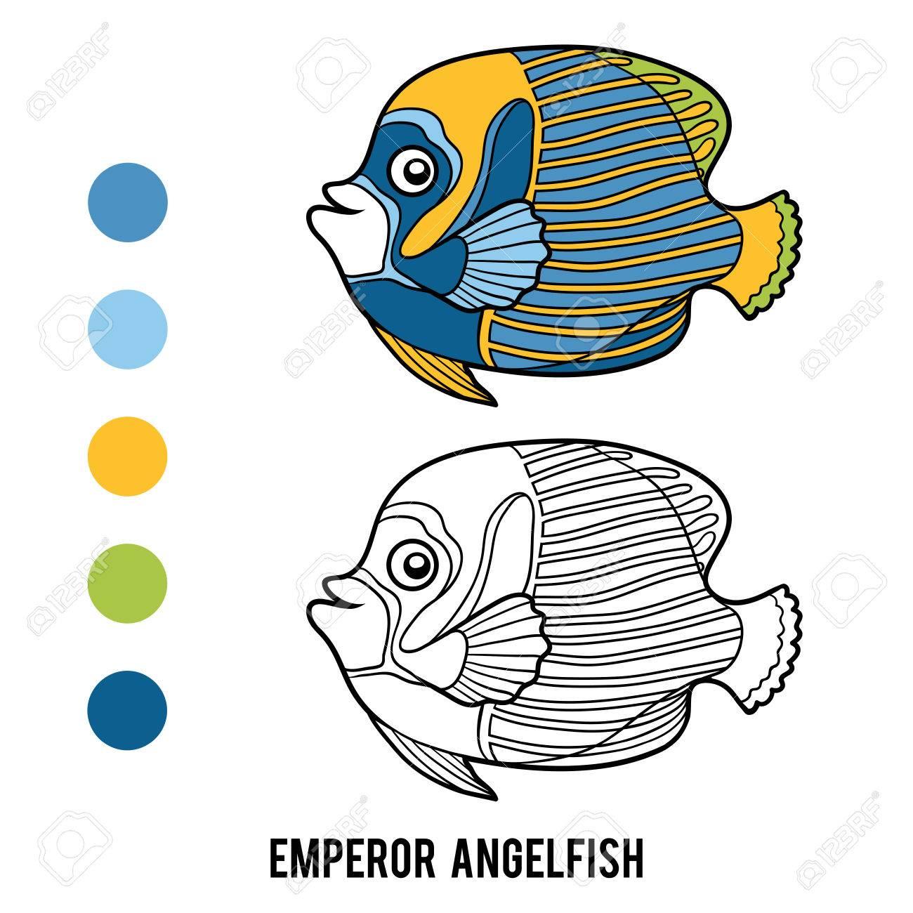 Coloring Book For Children Emperor Angelfish Stock Vector