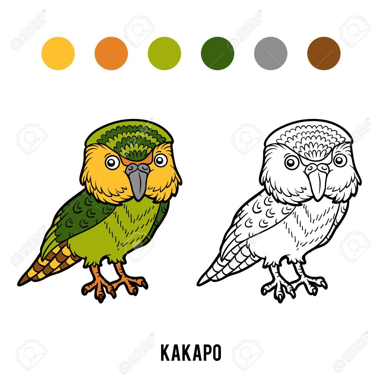 Dibujo Para Colorear Para Niños Loro Kakapo