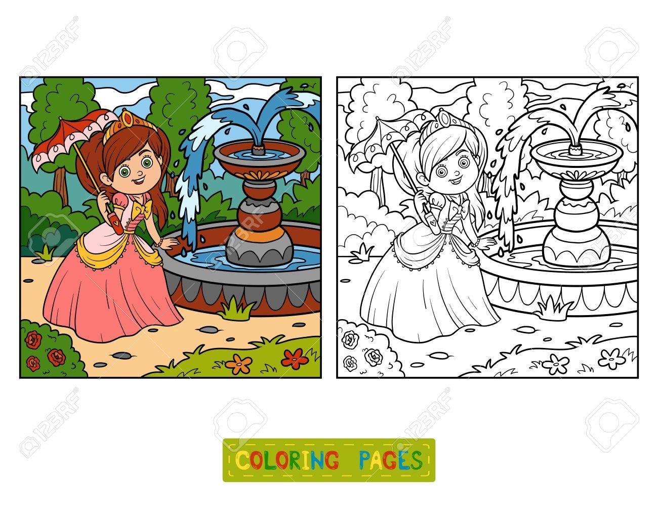 Coloring Book Cartoon Character Princess With Umbrella Stock Vector