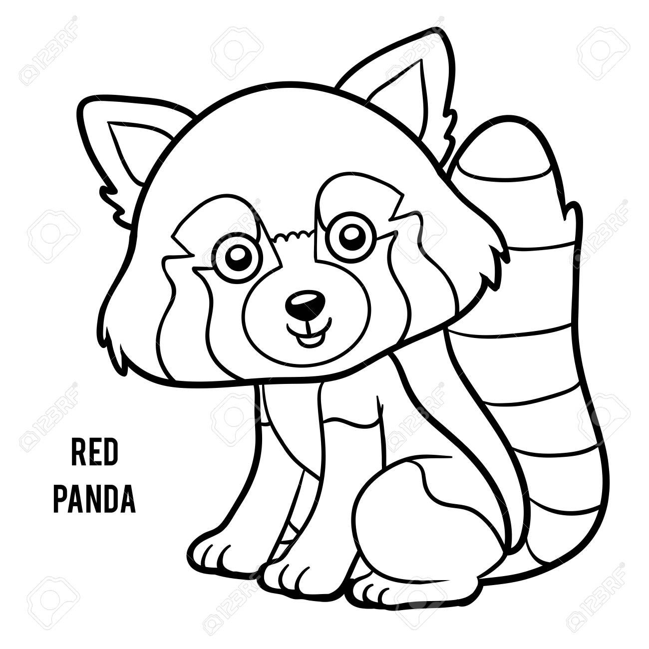 Dibujo Para Colorear Para Niños, Panda Roja Ilustraciones ...