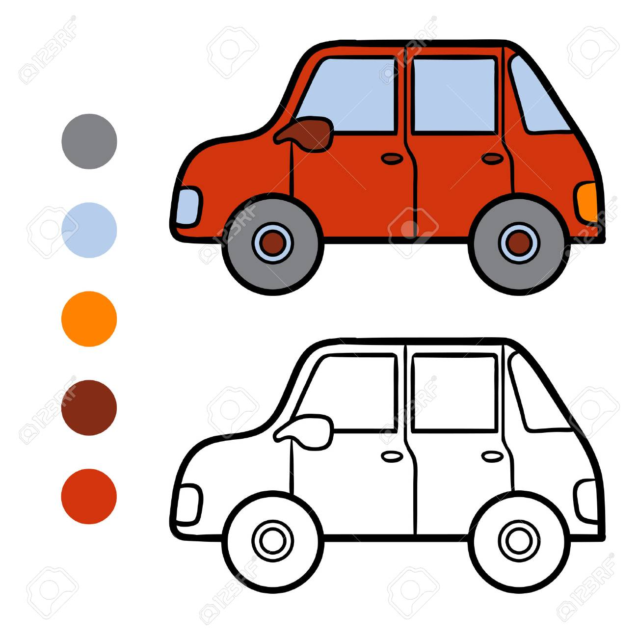 Coloring Book For Children Car Stock Vector