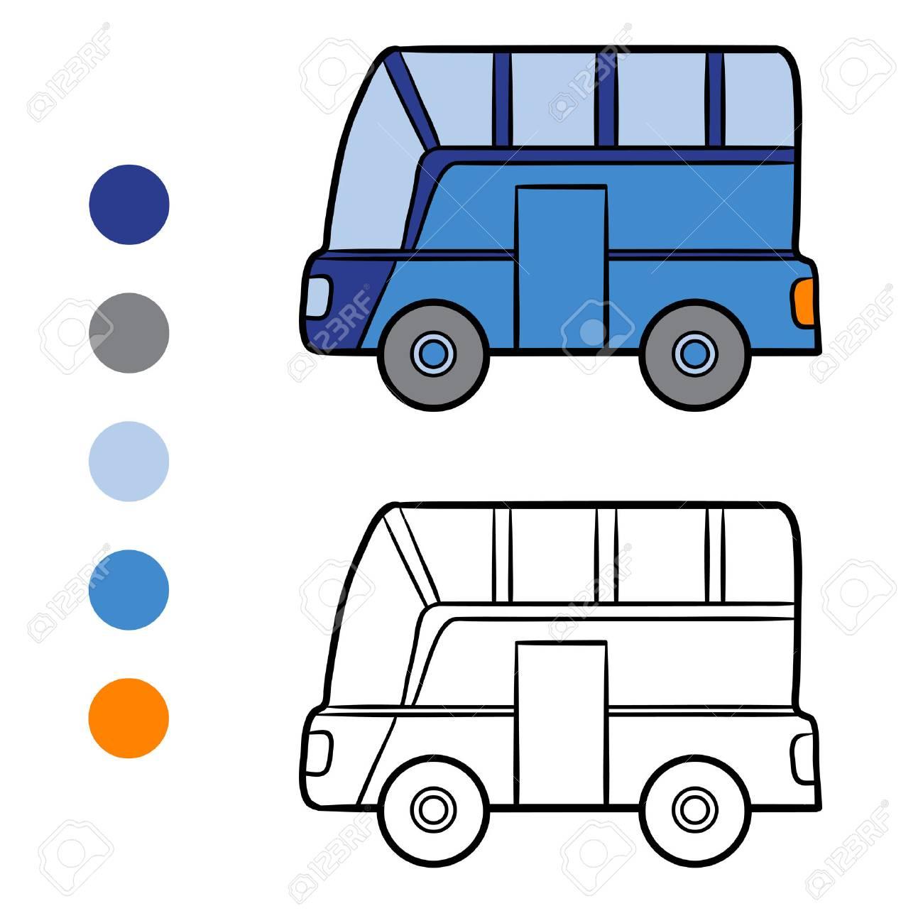 バスの子供のための塗り絵 ロイヤリティフリークリップアートベクター