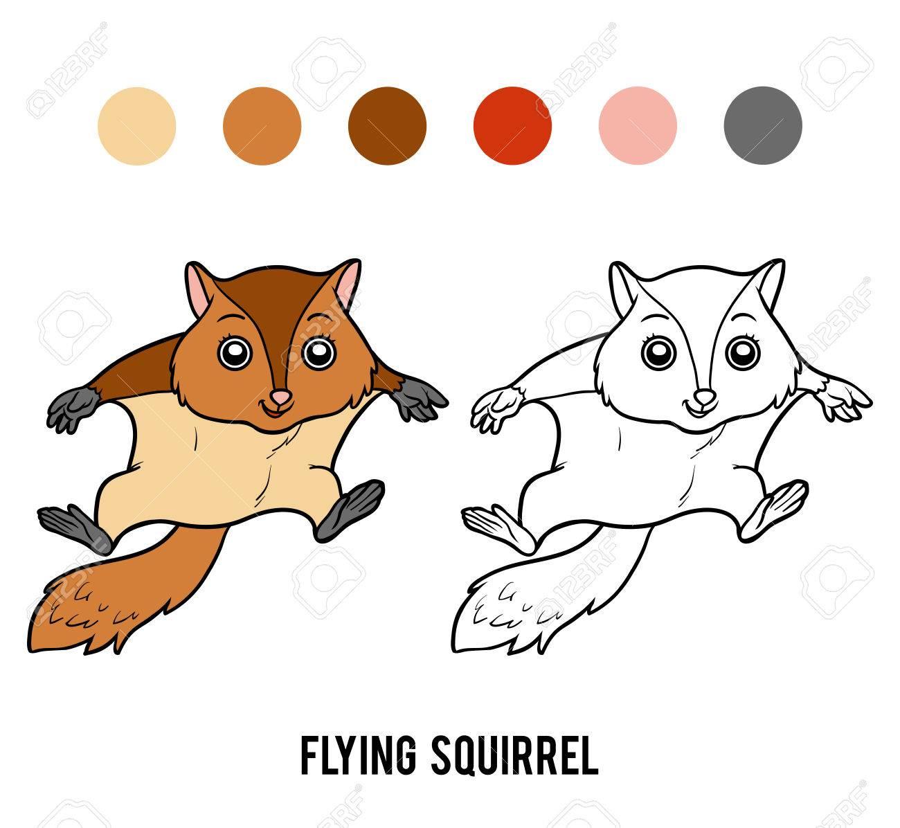Coloriage Ecureuil Volant.Livre A Colorier Pour Enfants Ecureuil Volant Clip Art Libres De