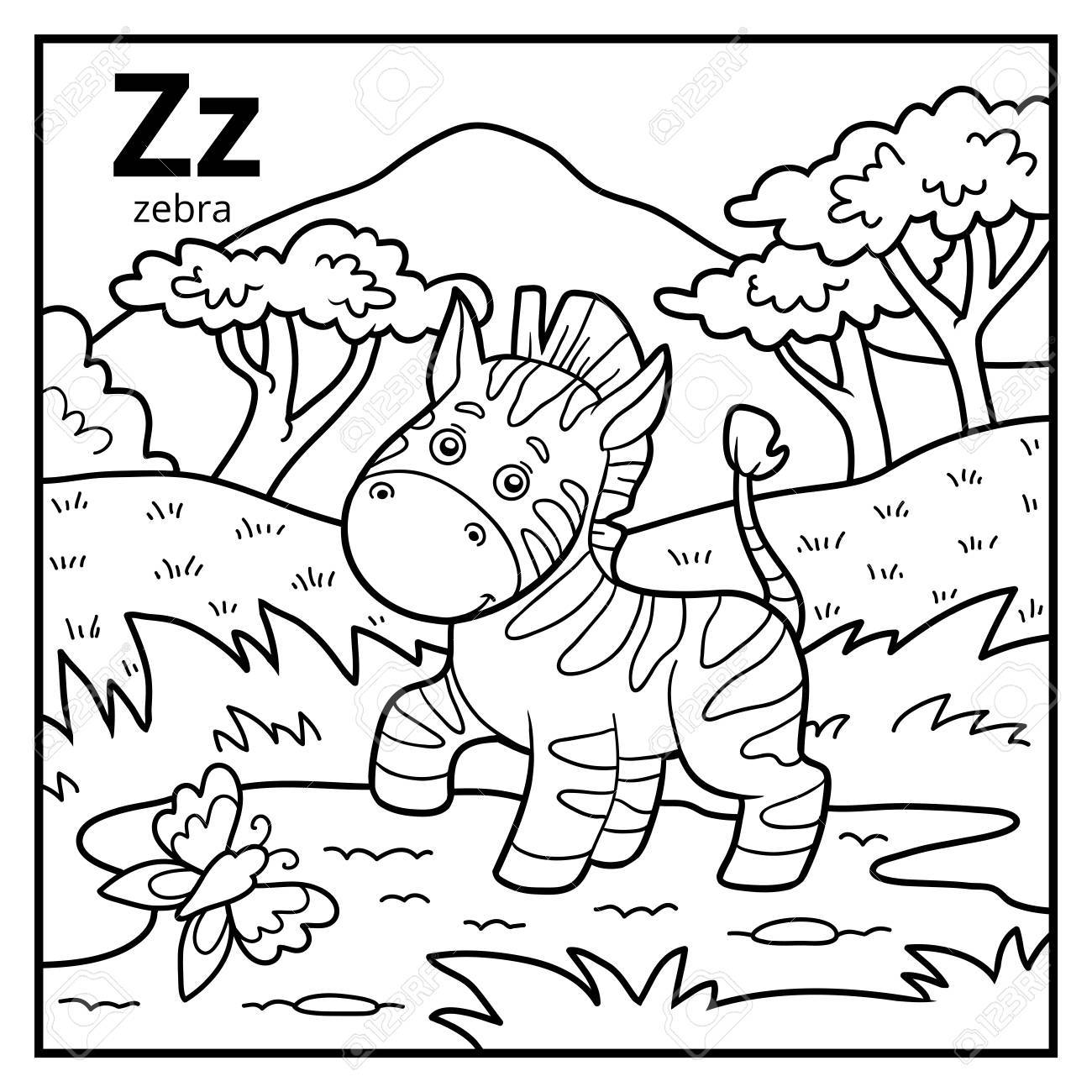 Coloring book for children, colorless alphabet. Letter Z, zebra