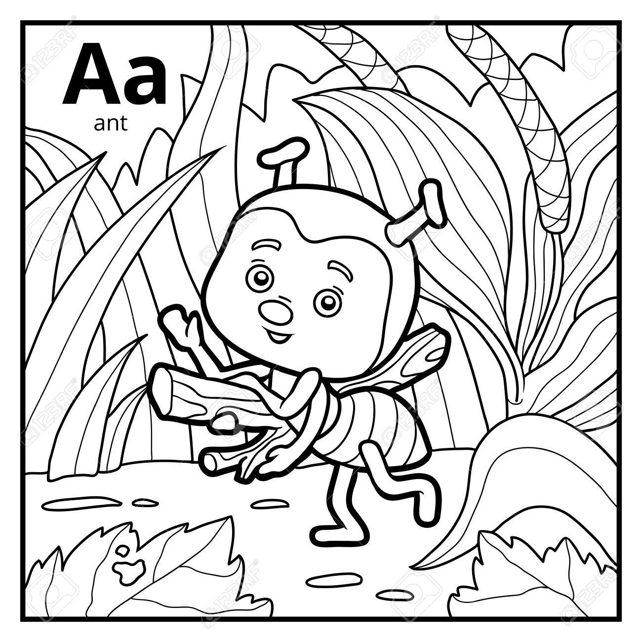Coloring Book For Children, Colorless Alphabet. Letter A, Ant ...
