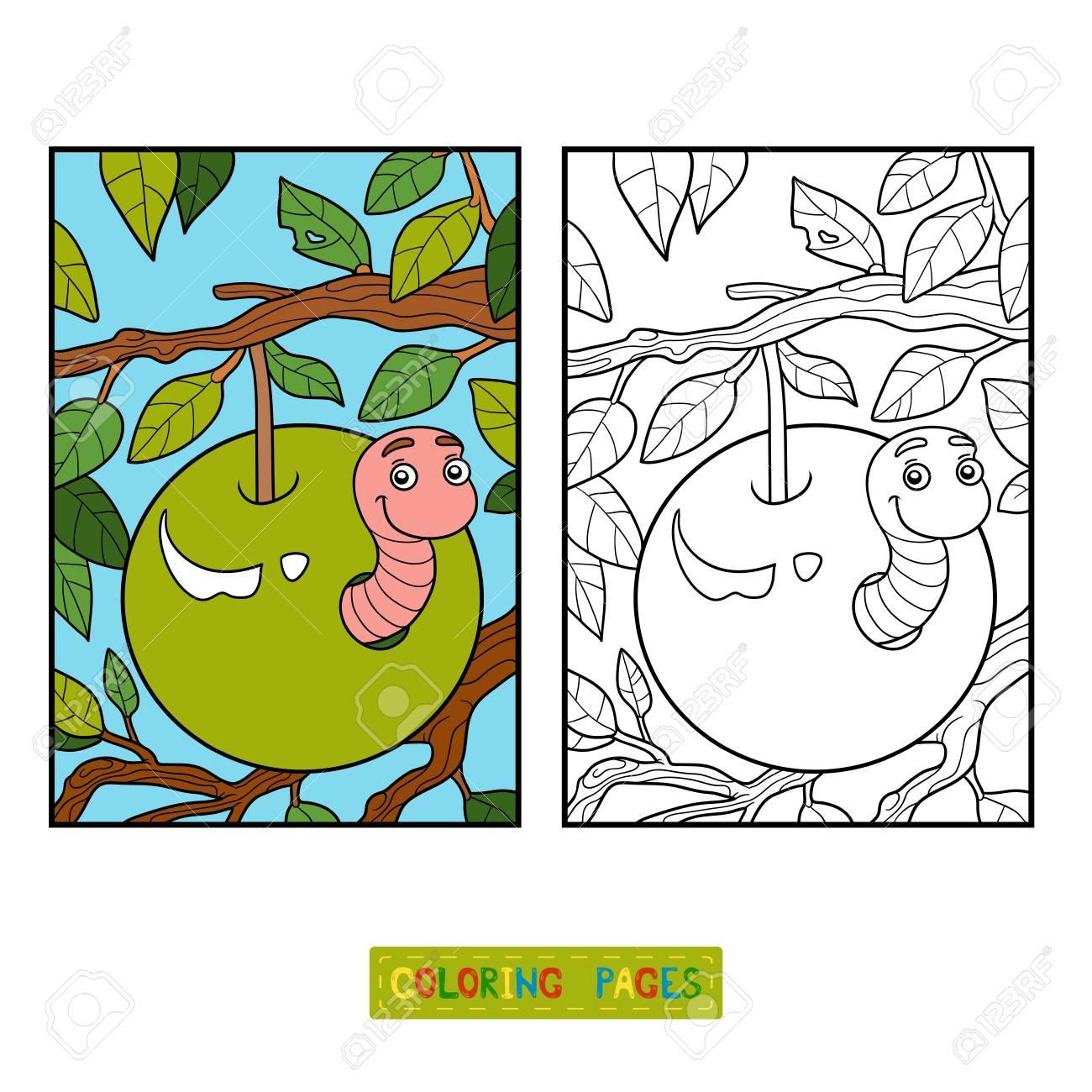 Libro Para Colorear Para Niños, Gusano En Manzana Ilustraciones ...