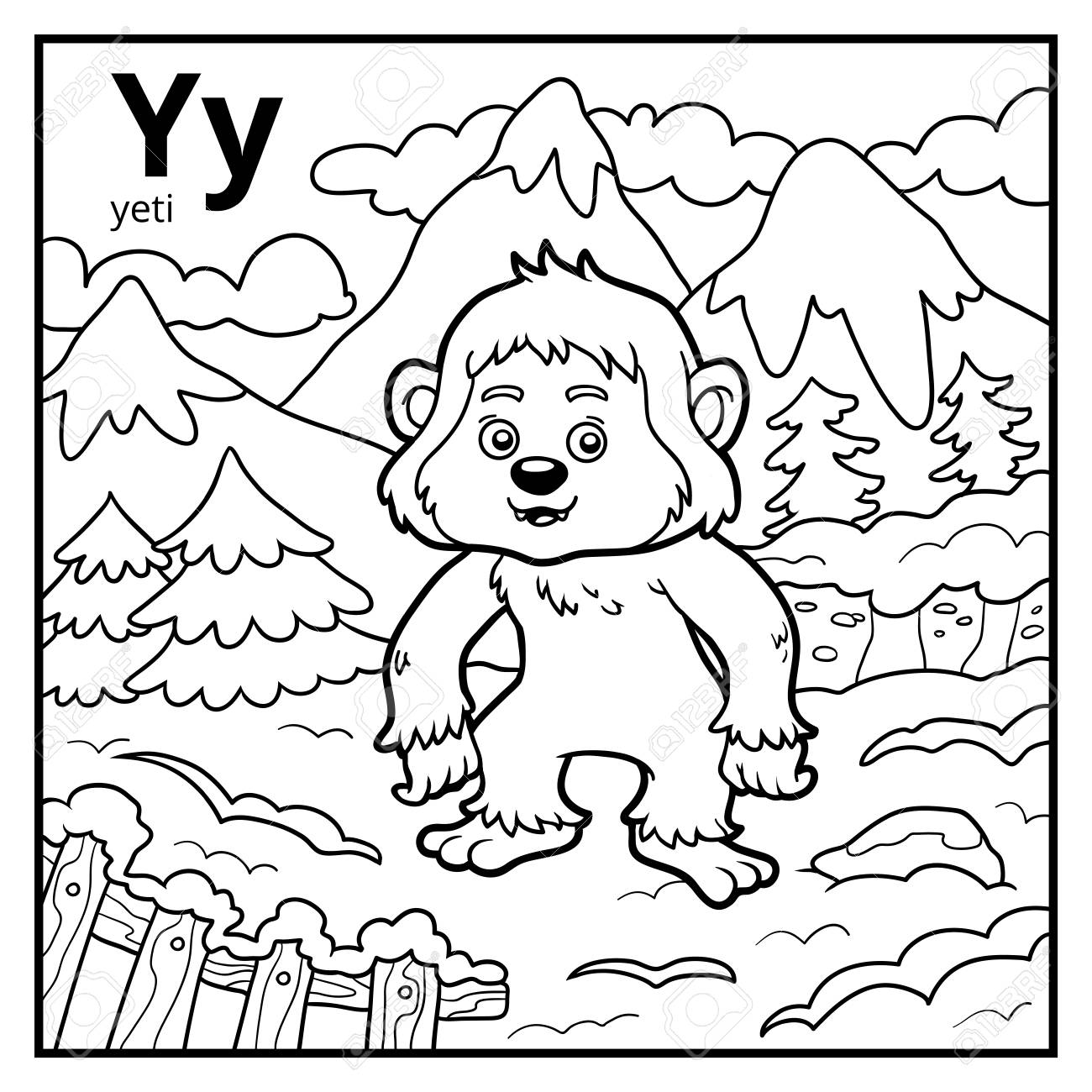 Coloring Book For Children Colorless Alphabet Letter Y Yeti Stock Vector