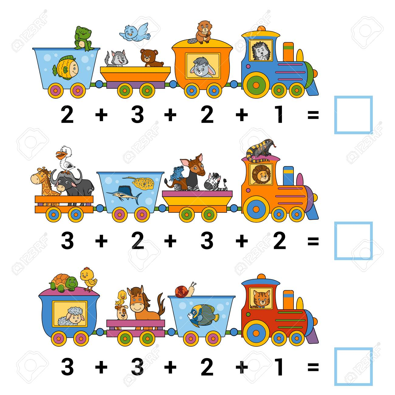 Counting Game for Preschool Children. Educational a mathematical game. Count the animals on the train and write the result. Tasks for addition - 77426690