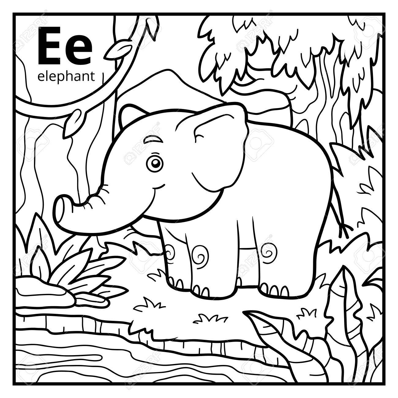 Coloring Book For Children Colorless Alphabet Letter E Elephant Stock Vector