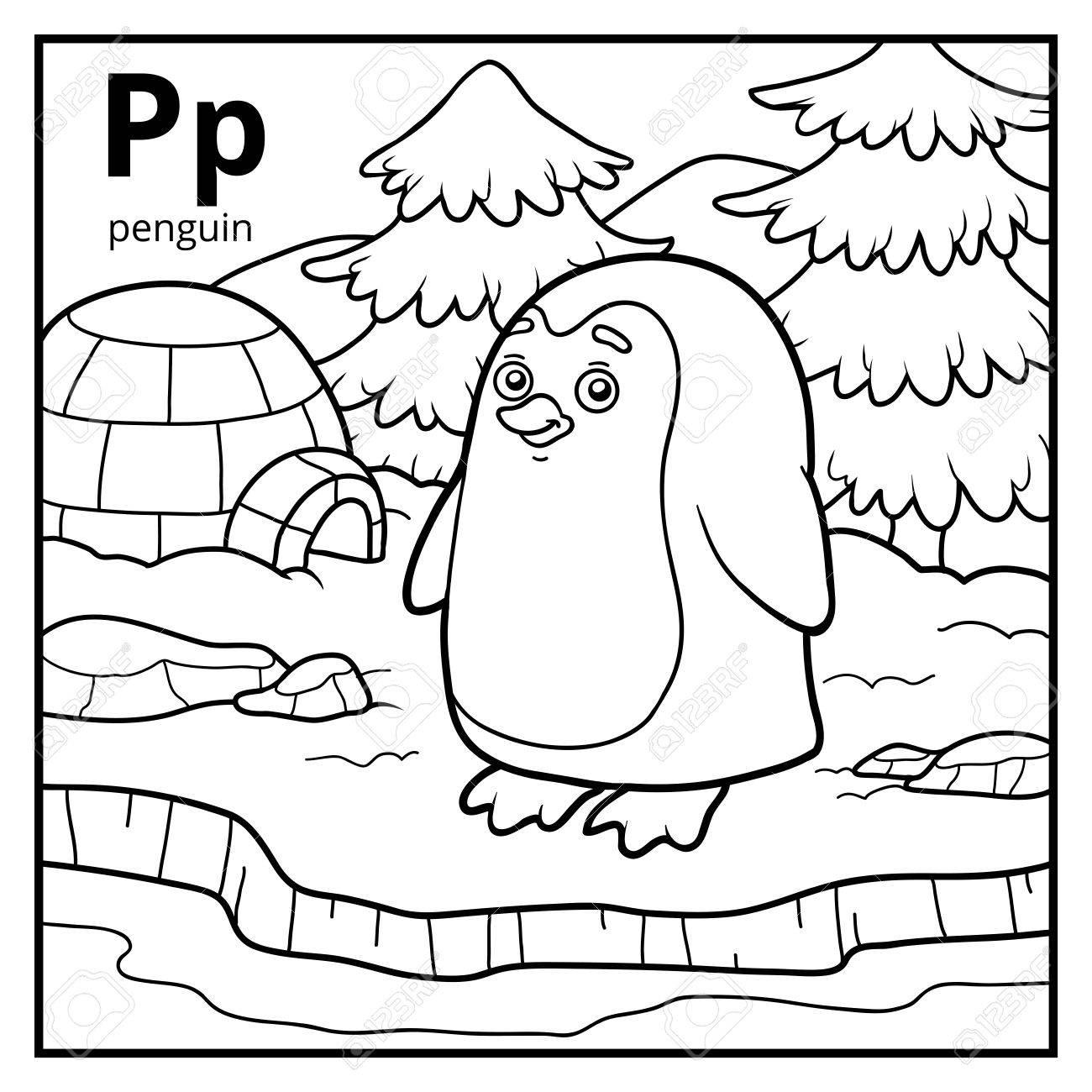 Libro Para Colorear Para Niños Alfabeto Incoloro Letra P Pingüino