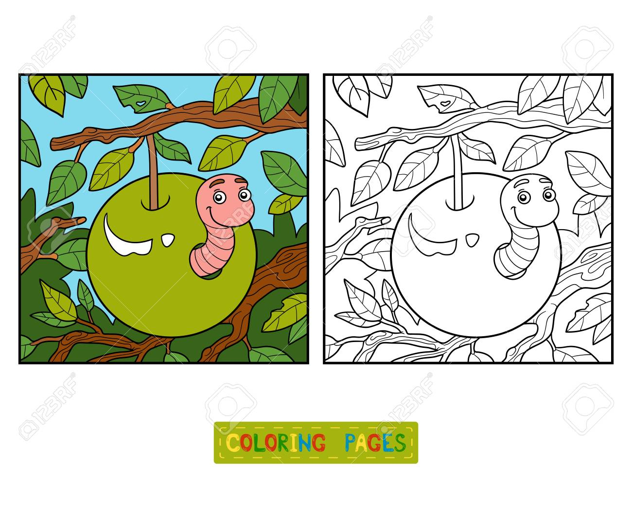Coloring Book For Children, Worm In Apple Royalty Free Cliparts ...
