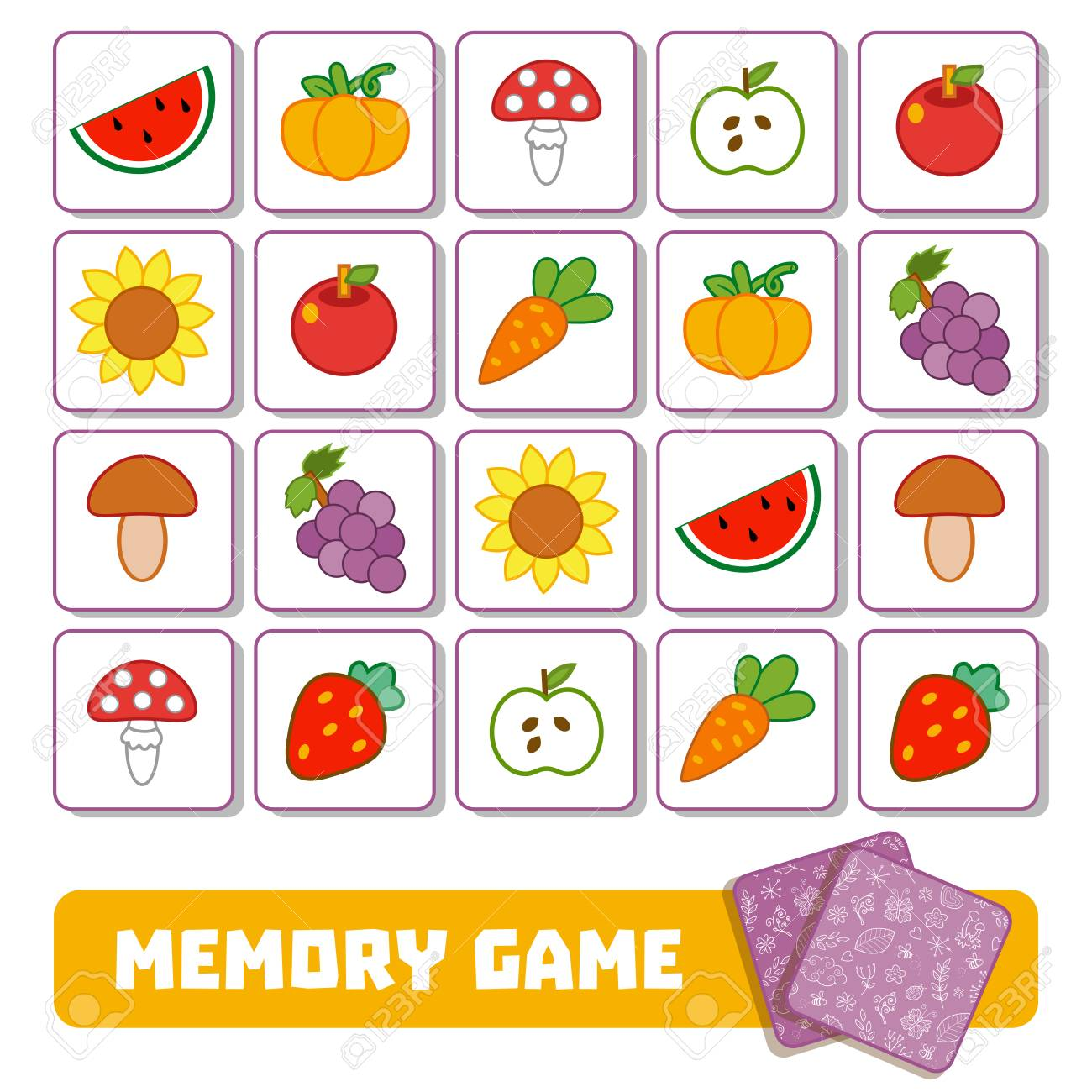 Vector memory game for children, cards with fruits and vegetables - 79471514
