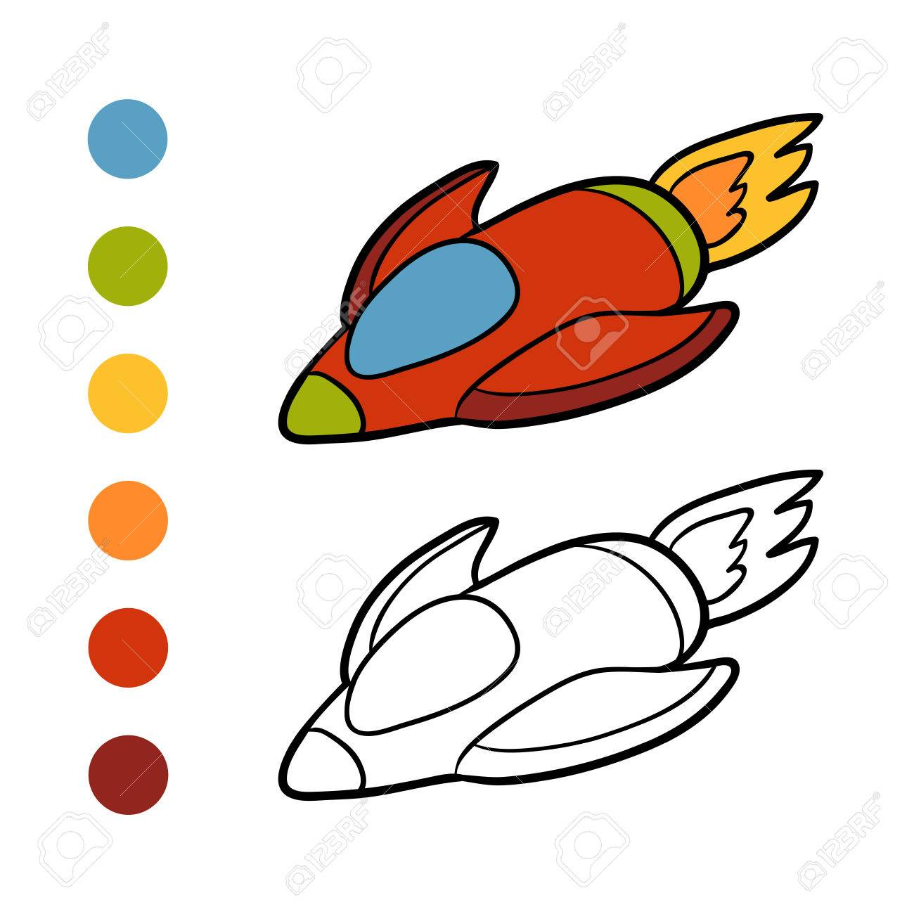 Coloring Book For Children, Spaceship Royalty Free Cliparts, Vectors ...