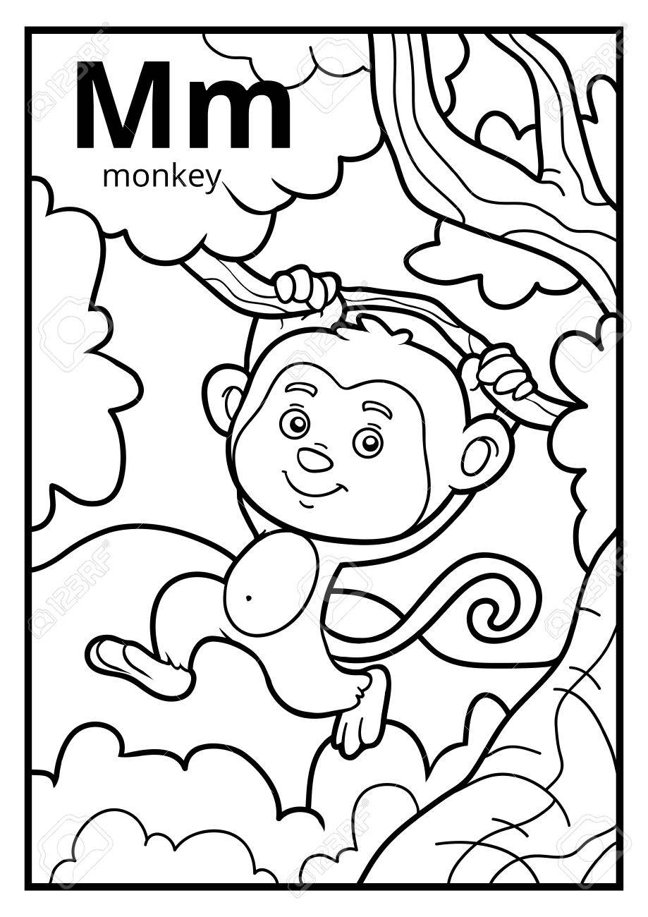 Libro Para Colorear Para Niños Alfabeto Incoloro Letra M Mono