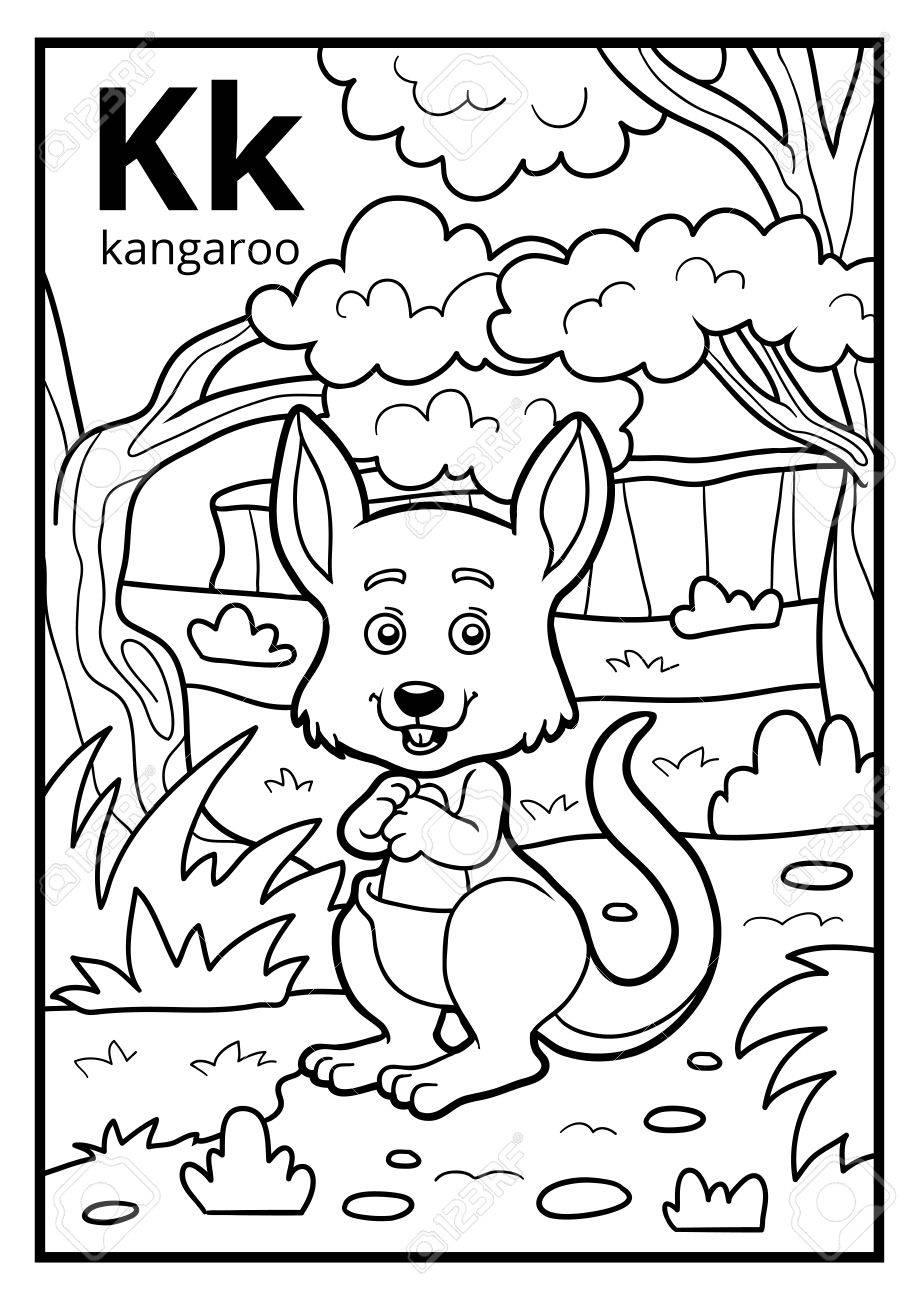 Coloring Book For Children, Colorless Alphabet. Letter K, Kangaroo ...