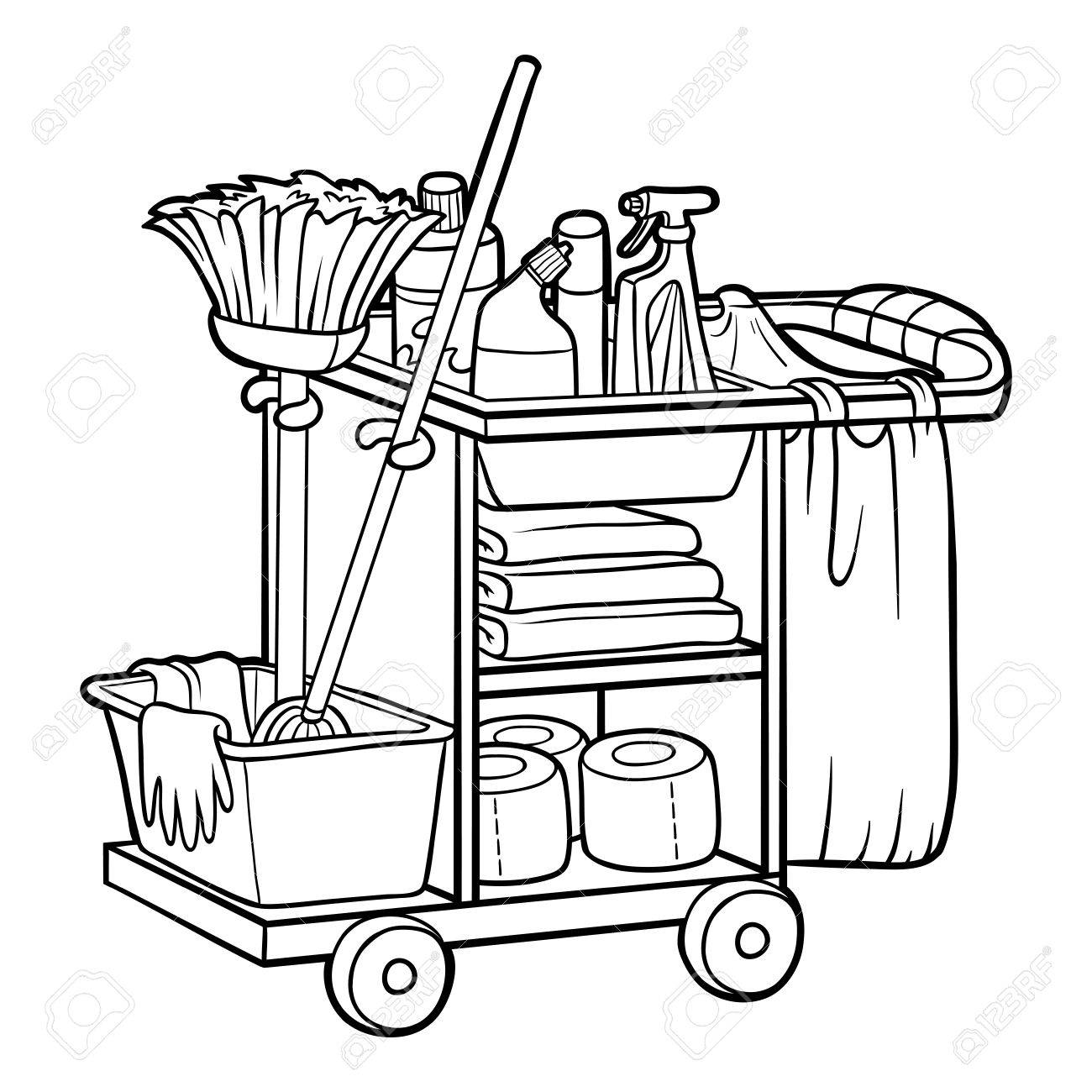 Coloring book for children, Maid cart - 81574622