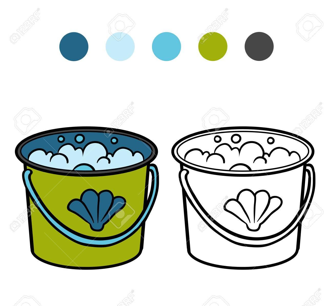 Libro De Colorear Para Niños, Cubo Con Agua Ilustraciones ...