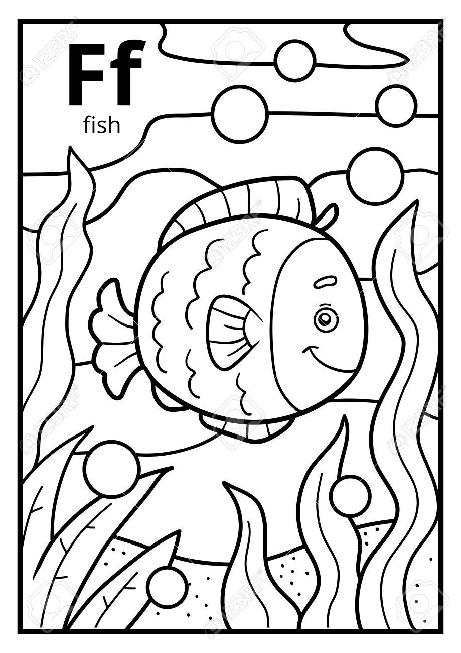 Dibujo Para Colorear Para Niños Alfabeto Incoloro Con Letra F Pescado
