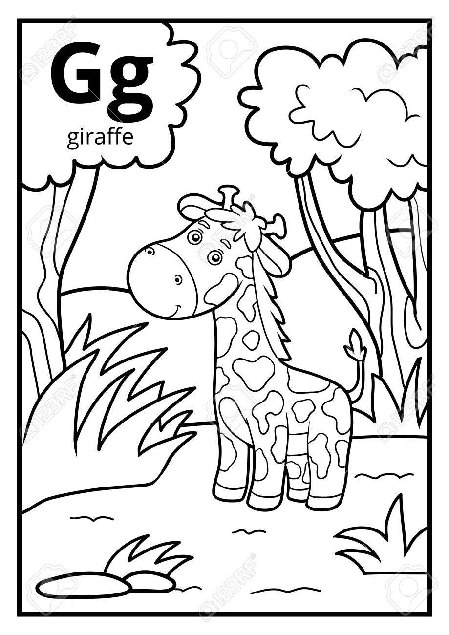 Dibujo Para Colorear Para Niños Alfabeto Incoloro Con Letra G Jirafa