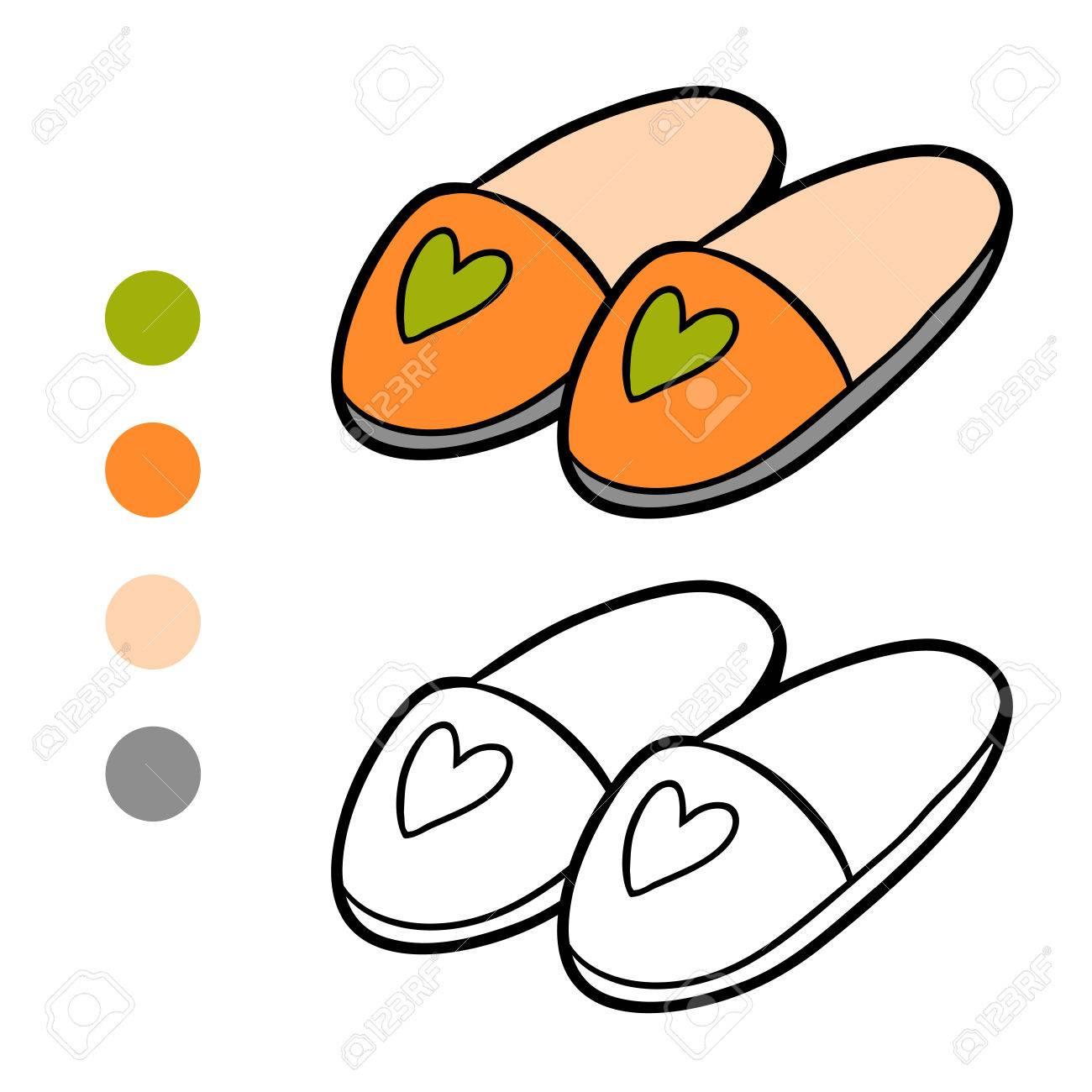 Dibujo Para Colorear Para Ninos Zapatillas Ilustraciones