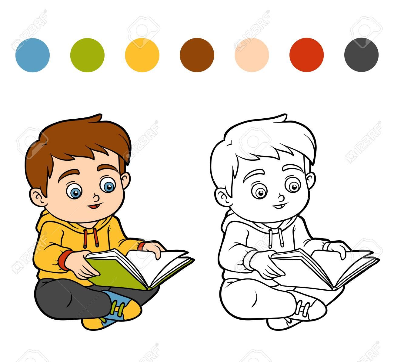 Libro Para Colorear Para Niños Niño Leyendo Un Libro