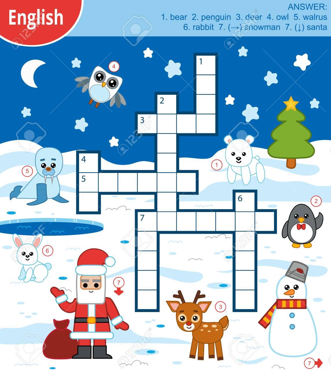 Vector Bunte Kreuzworträtsel In Englisch Bildungsspiel Für Kinder