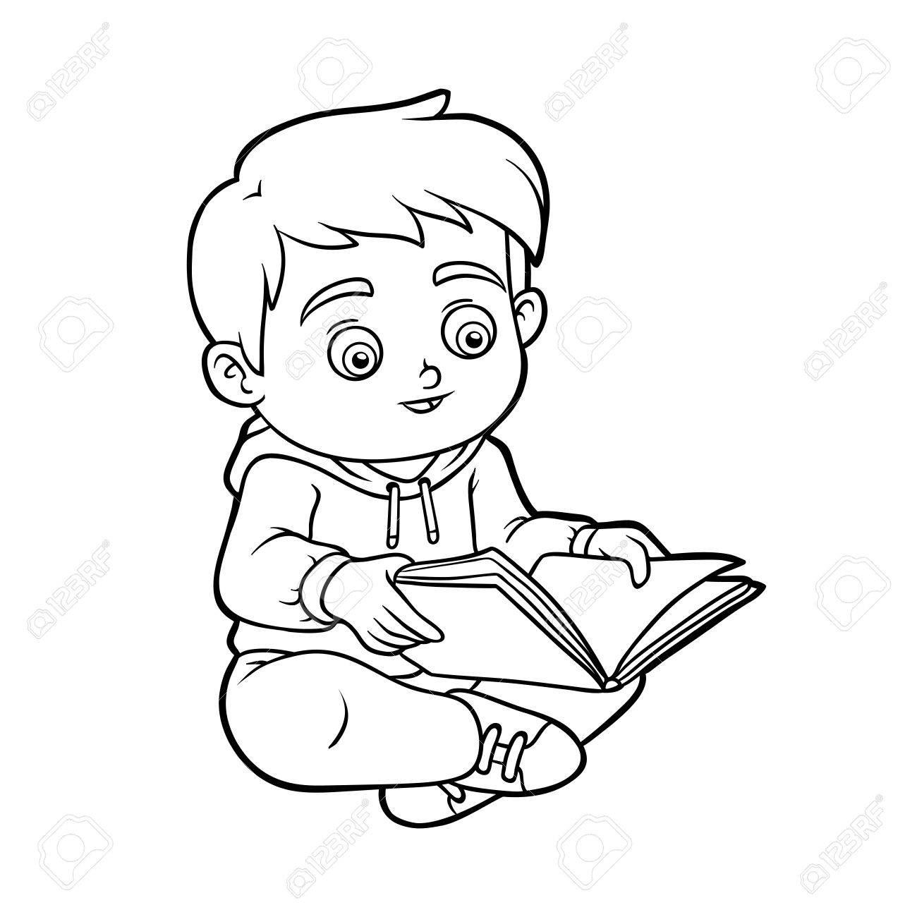 Libro Para Colorear Para Niños, Niño Leyendo Un Libro