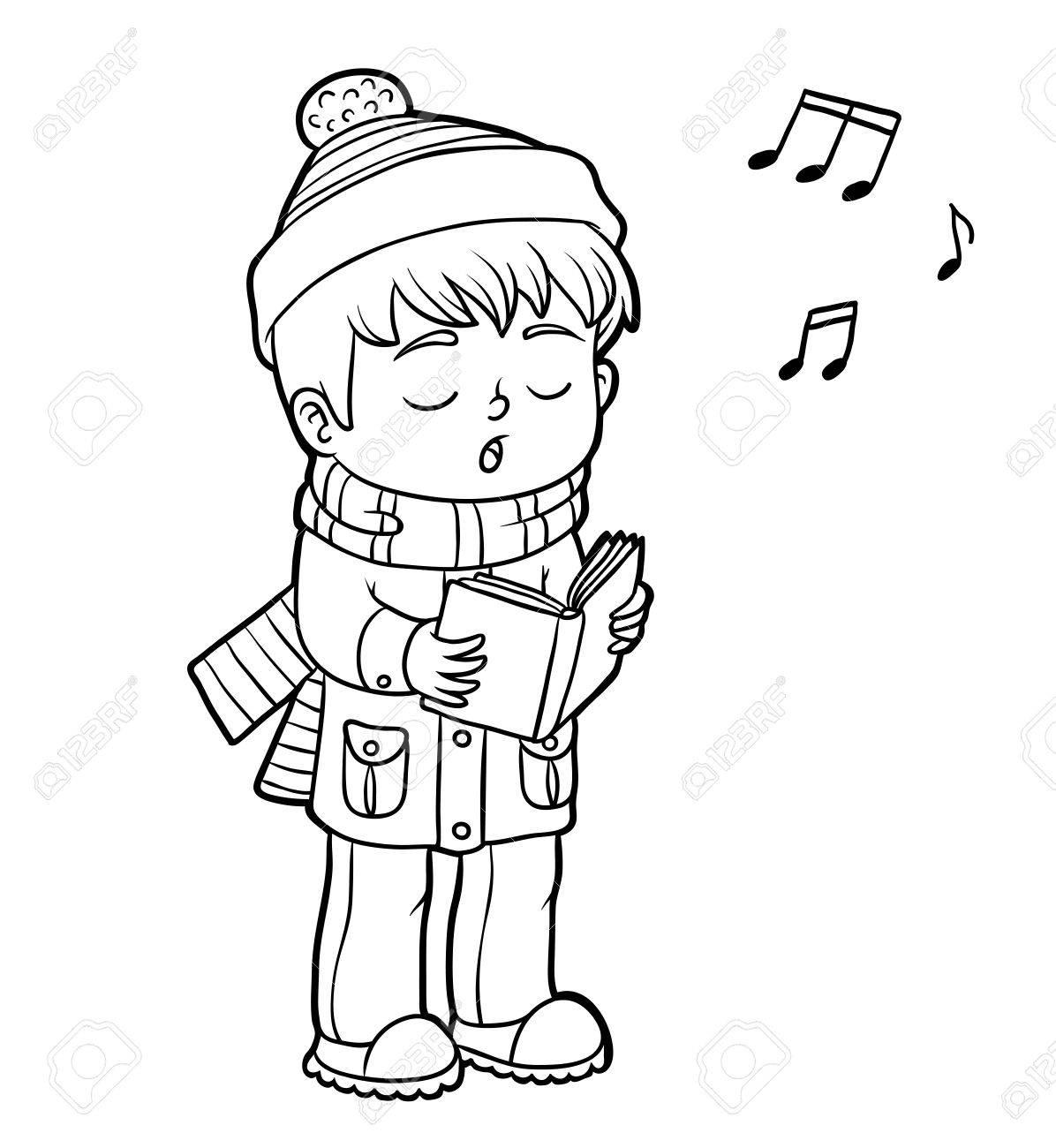 Malbuch Für Kinder, Junge Singt Ein Weihnachtslied Lizenzfrei ...