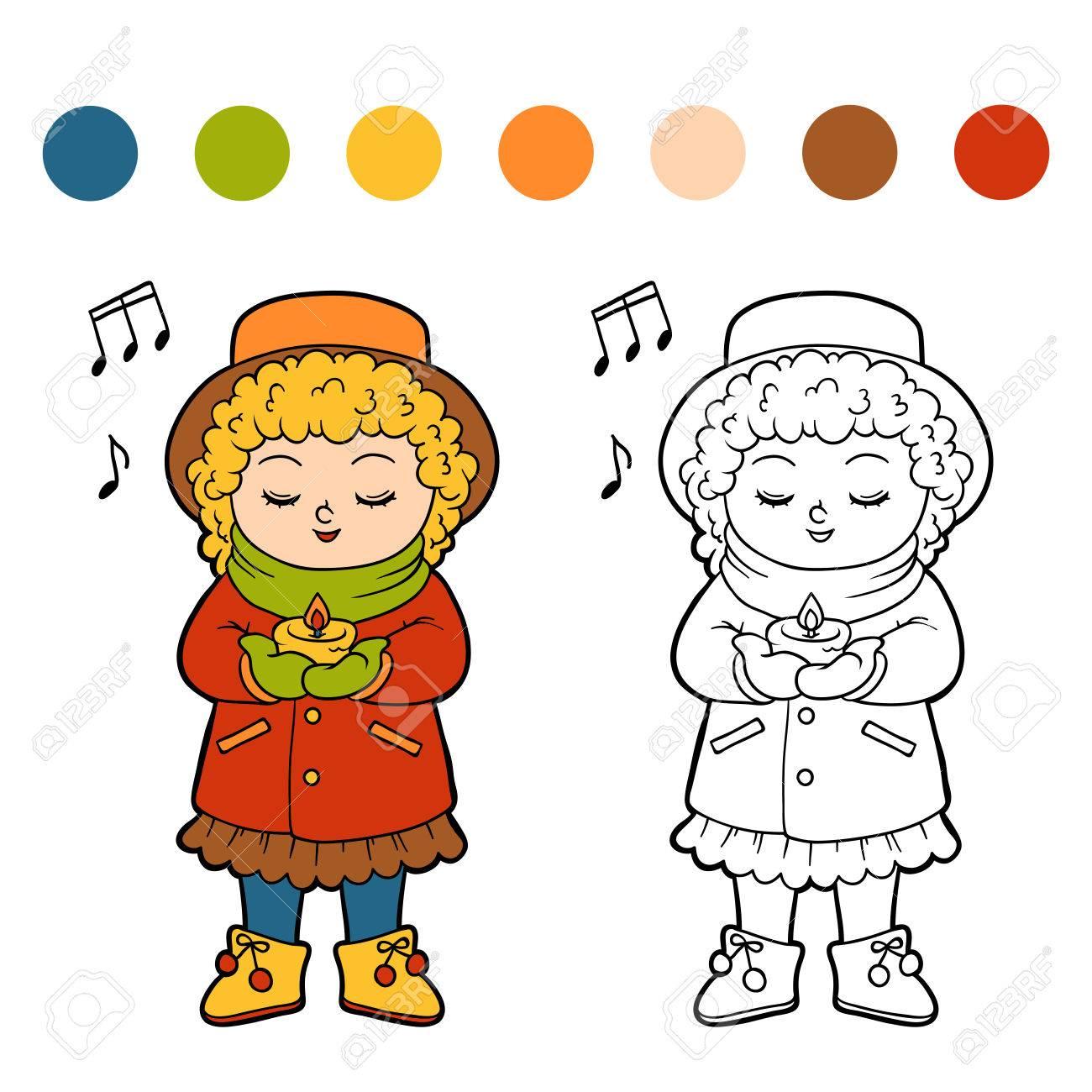Malbuch Für Kinder, Mädchen Singt Ein Weihnachtslied Lizenzfrei ...