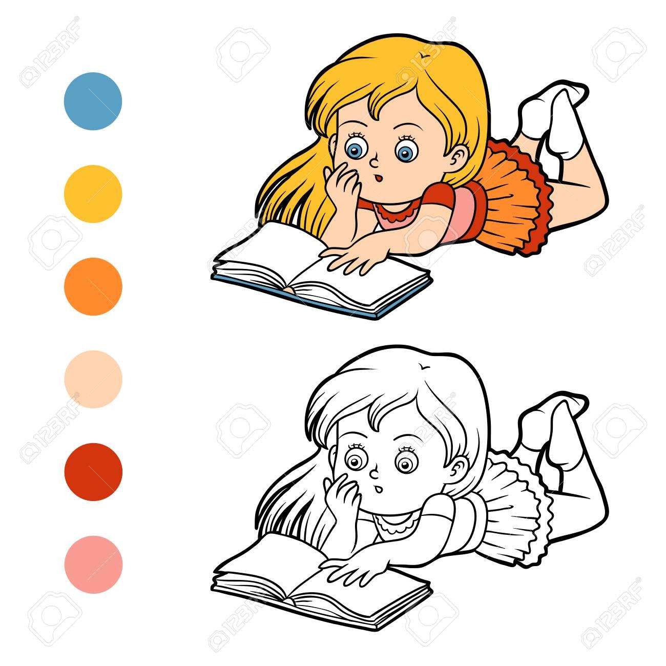 Libro Para Colorear Para Niños Niña Leyendo Un Libro Ilustraciones