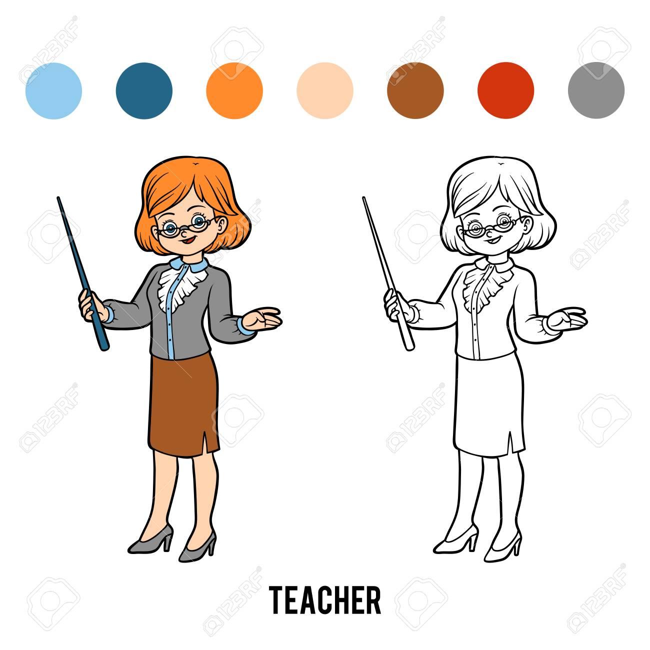 Libro Para Colorear Para Niños, Profesor Ilustraciones Vectoriales ...