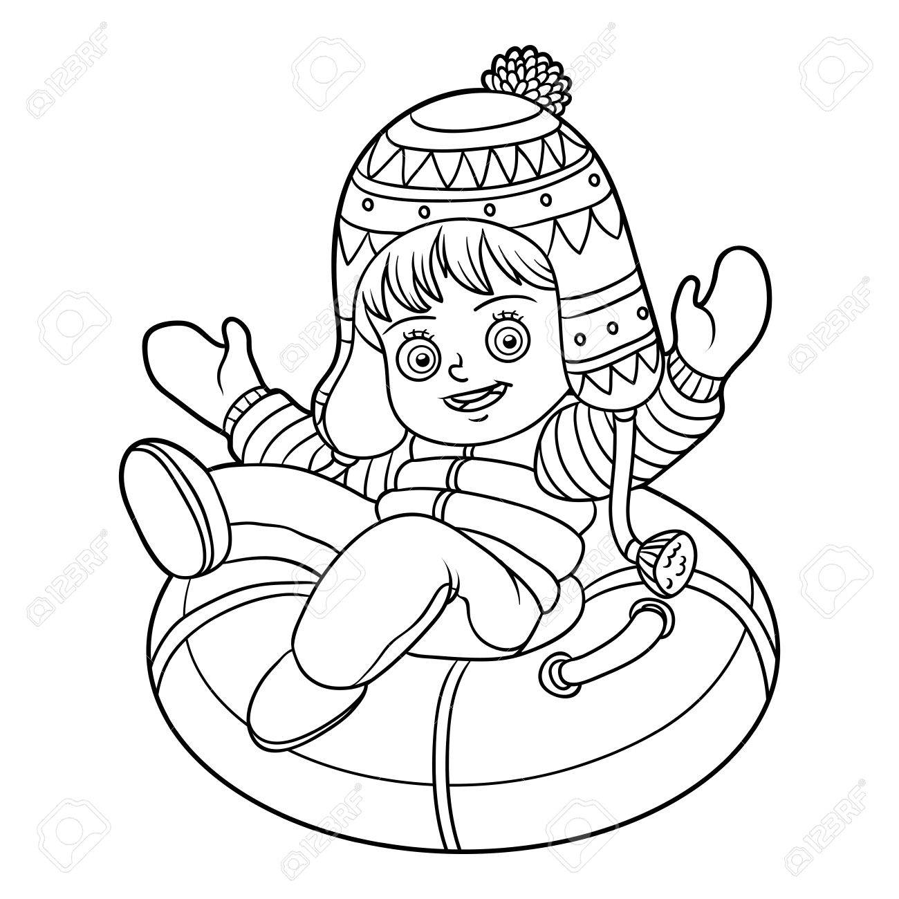 Coloring book for girl - Coloring Book For Children Happy Girl Riding On The Tubing Inflatable Sled Stock Vector