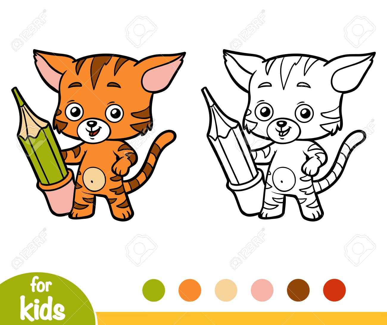 Coloring Book For Children Cat With A Pencil