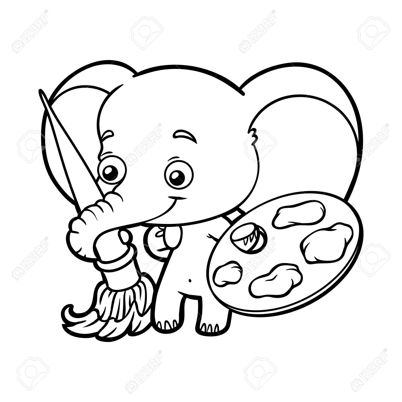 Coloring Book For Children, Elephant With Paints And A Brush Royalty ...