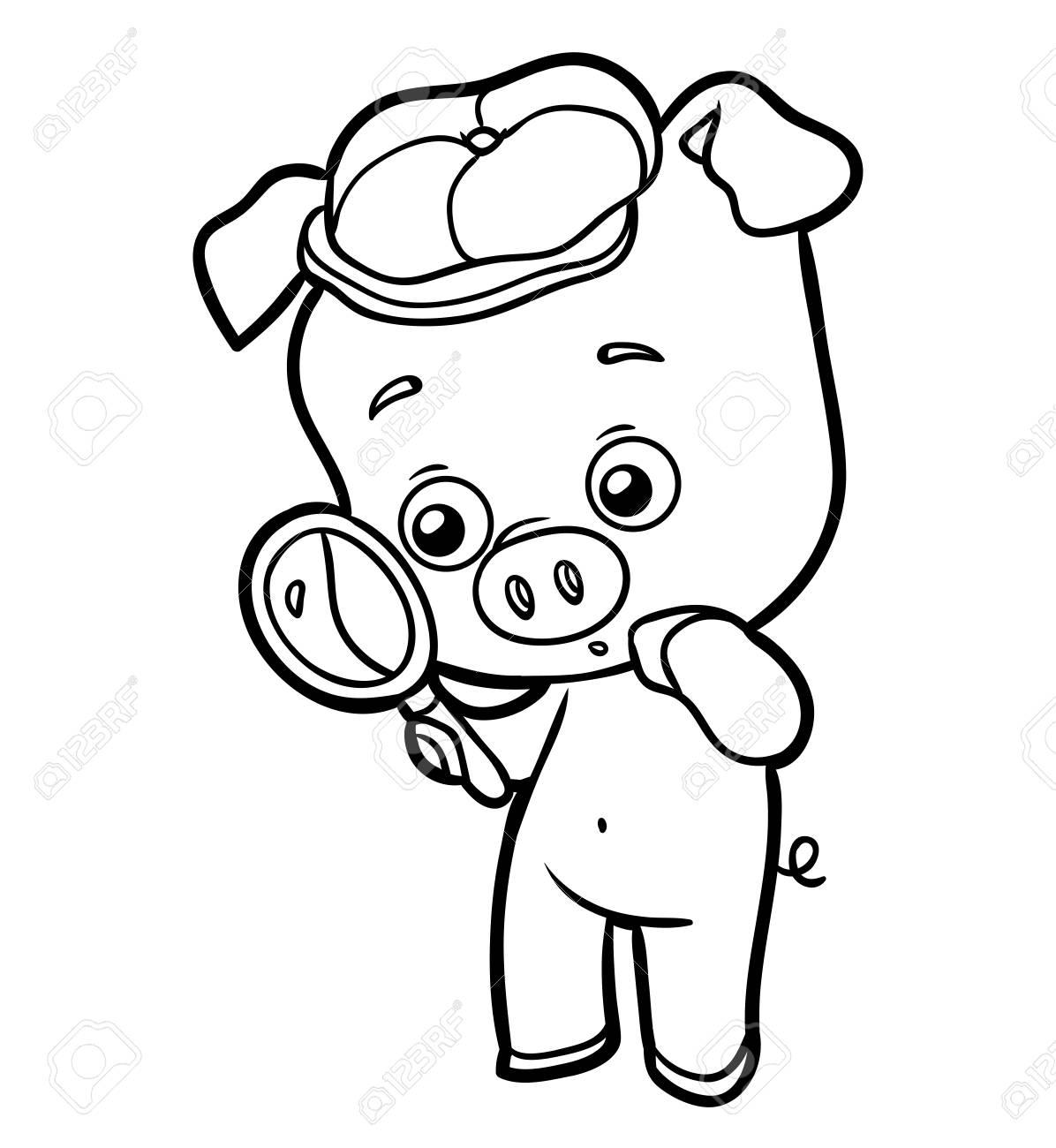 Libro De Colorear Para Niños - Cerdo Con Una Lupa Ilustraciones ...