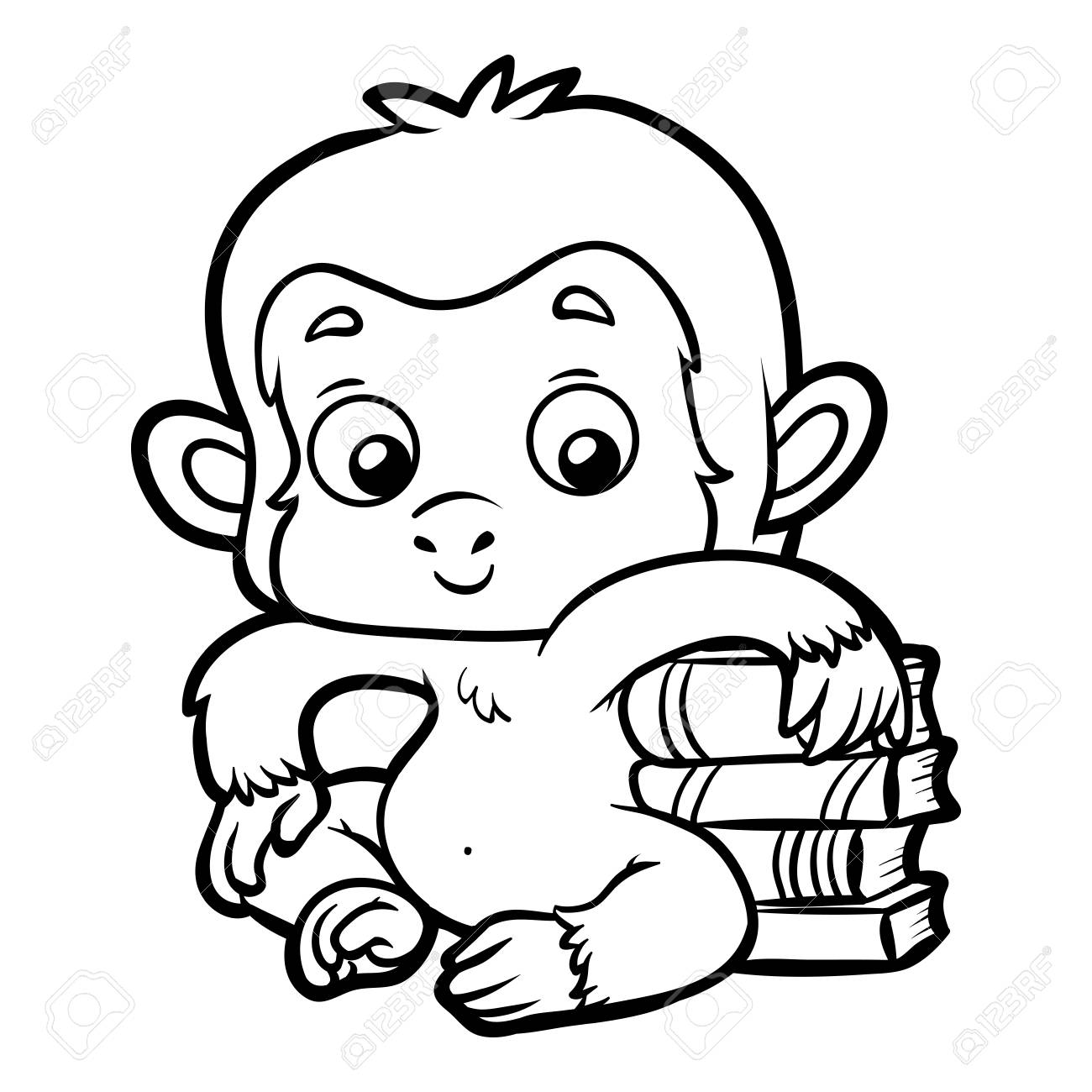 Coloring Book For Children, Monkey And Books. Royalty Free Cliparts ...