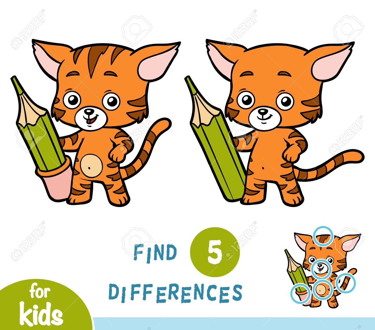Encuentra Diferencias Juegos Educativos Para Ninos Gato Y Lapiz