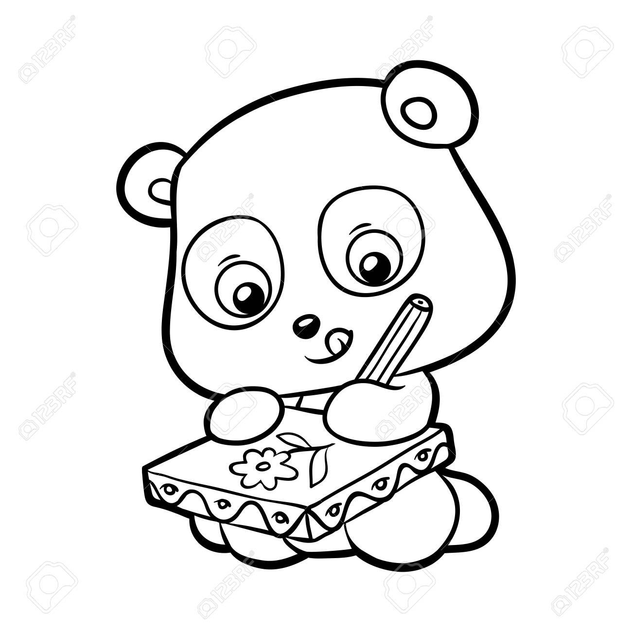パンダは子供の塗り絵のイラストを画像しますのイラスト素材ベクタ