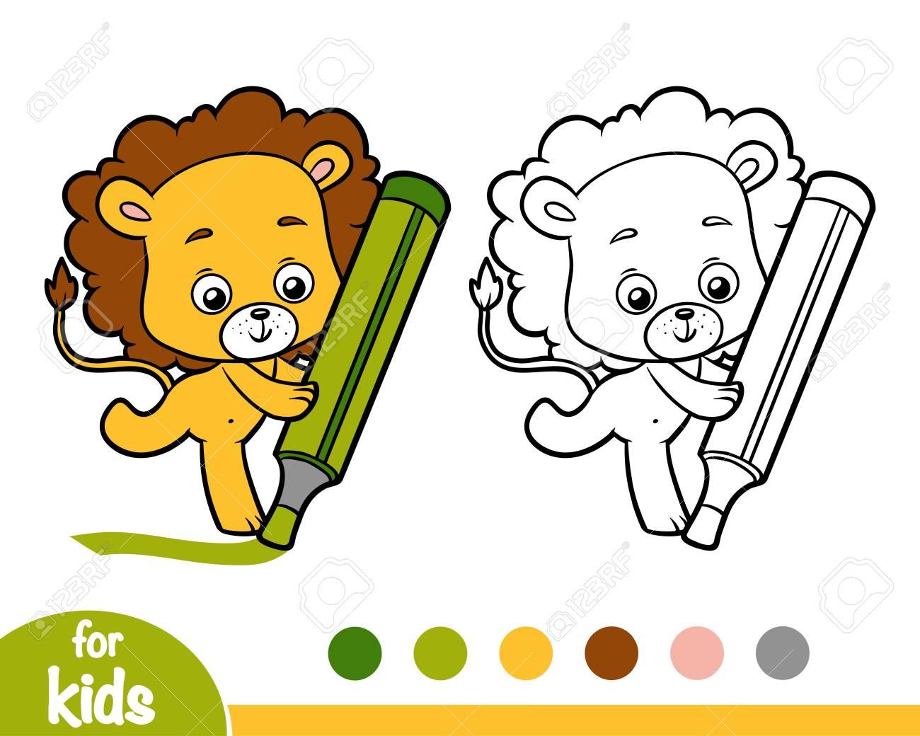 Dibujo Para Colorear Para Niños León Ilustraciones Vectoriales