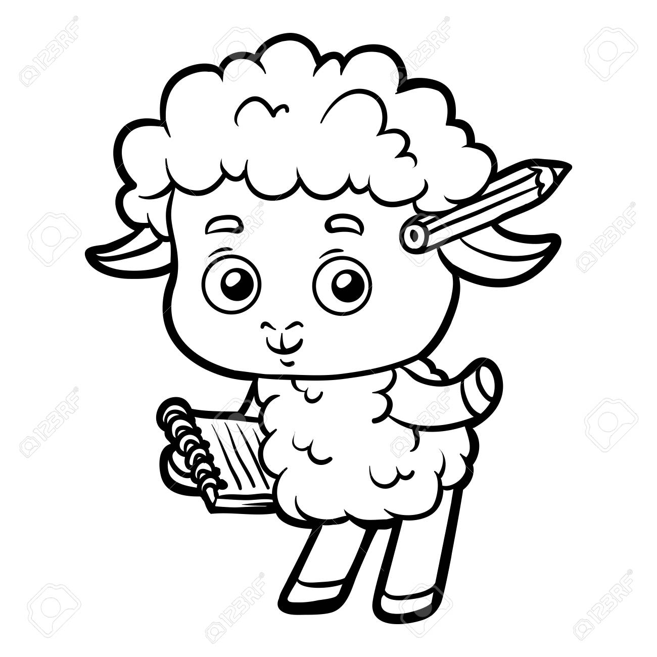 Coloring Book For Children, Sheep Writer With A Pencil And A ...