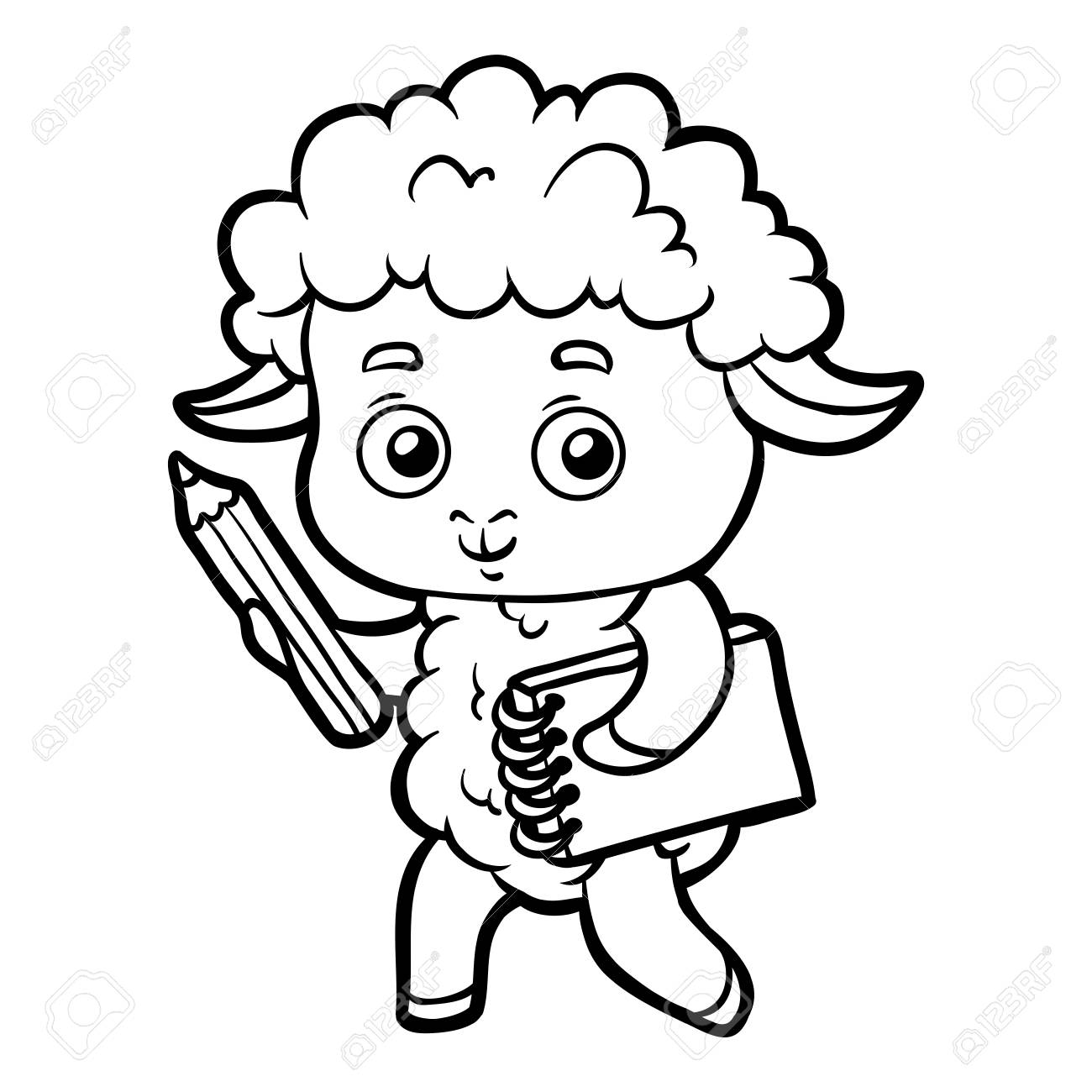 Coloring book for children, Sheep writer with a pencil and a..