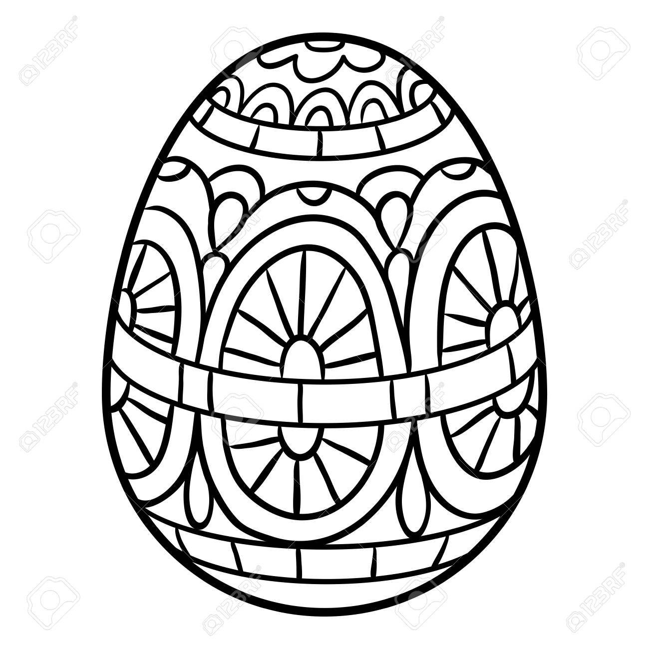 Coloring book for children, Easter egg illustration.