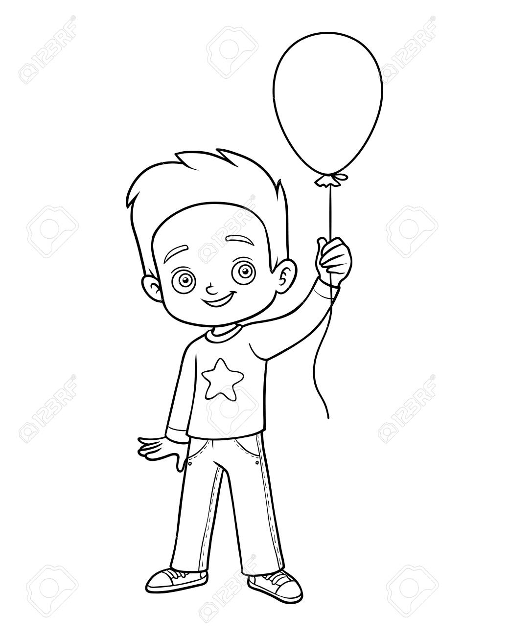 Coloring Book For Children, Boy And Balloon Royalty Free Cliparts ...