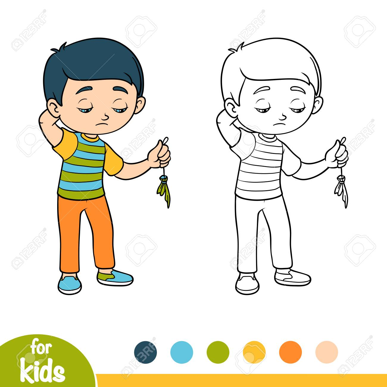 Coloring Book For Children, Sad Boy Hold Burst Balloon Royalty Free ...