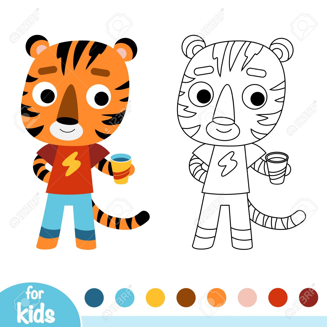 Coloring Book For Children Tiger